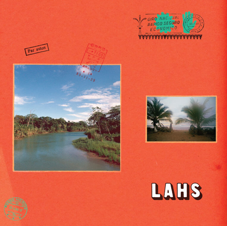 album cover for new allah lahs record, red background with passport stamps, photos of tropical landscapes ect
